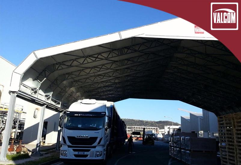 Hangar di copertura in pvc per ampliare lo spazio produttivo di Alcantara
