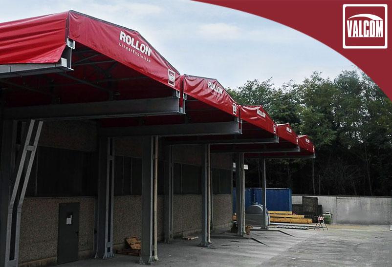 Tettoie in PVC nel distretto di Monza e Brianza per coprire il passaggio merci di Rollon