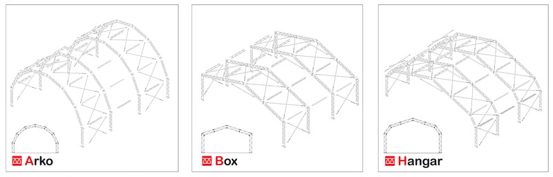 Tipologie di tensostrutture modulari Mekkano
