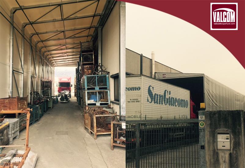 Un cliente storico amplia il magazzino e ottimizza gli ingressi: capannone mobile laterale e porta rapida